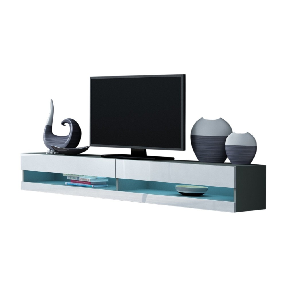 Media Console Cabinet Led Shelves With 2 Drawers For Living Room