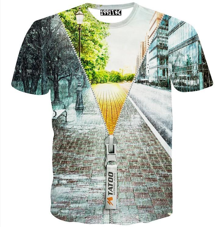 91f40dc33 [Magic] Special design Fail zipper building 3d t shirt men/women casual t