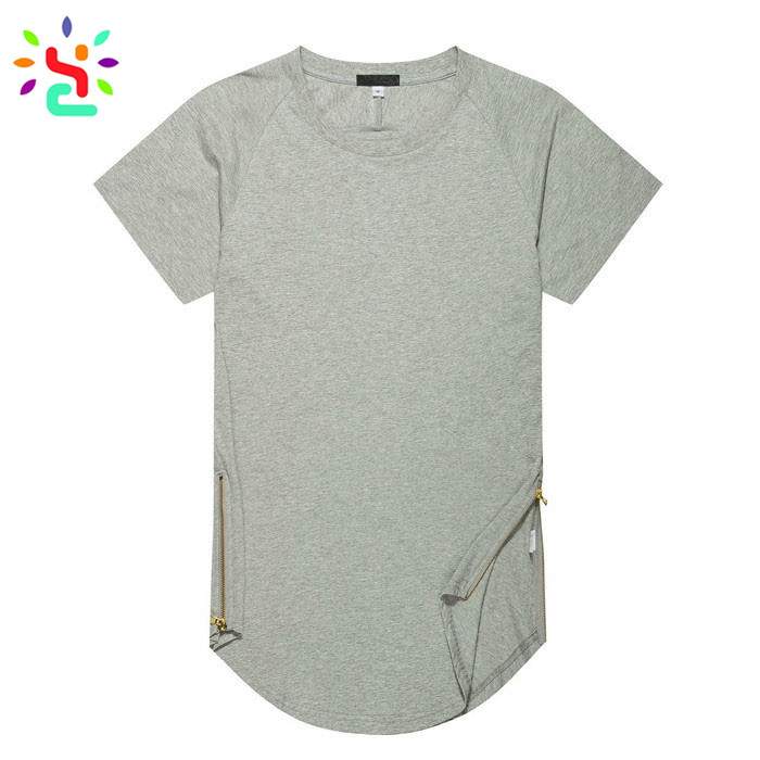 Wholesale extended t <strong>shirt</strong> side zipper tee <strong>shirt</strong> blank hip hop tees blank 100% cotton mens <strong>shirt</strong>