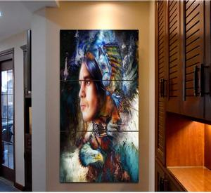 Hanging Wall Art Indian Man Portrait Picture Paintings Art