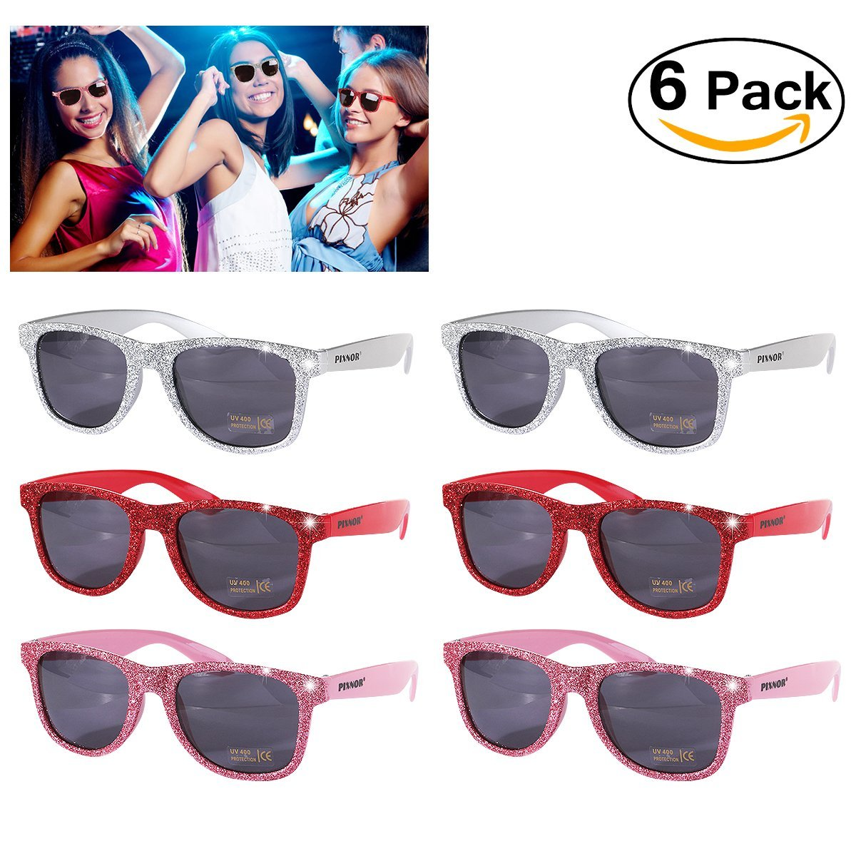 a25edee26d Get Quotations · PIXNOR Party Glitter Sunglasses for Birthday Bachelorette  Luau Party Supplies (6 Pack)