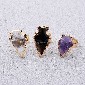 Fashion latest design gold agate arrowhead natural stone diamond engagement finger ring