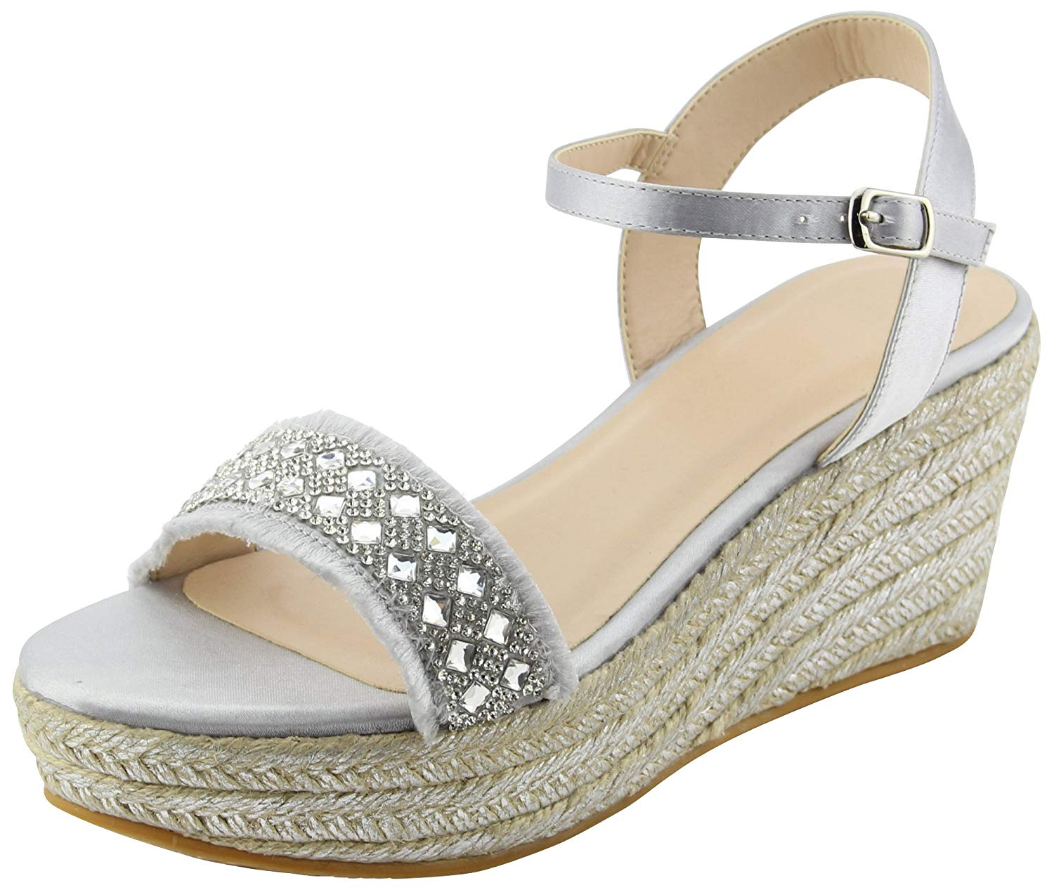 6527fa9072d Get Quotations · Cambridge Select Women s Open Toe Crystal Rhinestone  Strappy Buckle Frayed Distressed Espadrille Platform Wedge Sandal