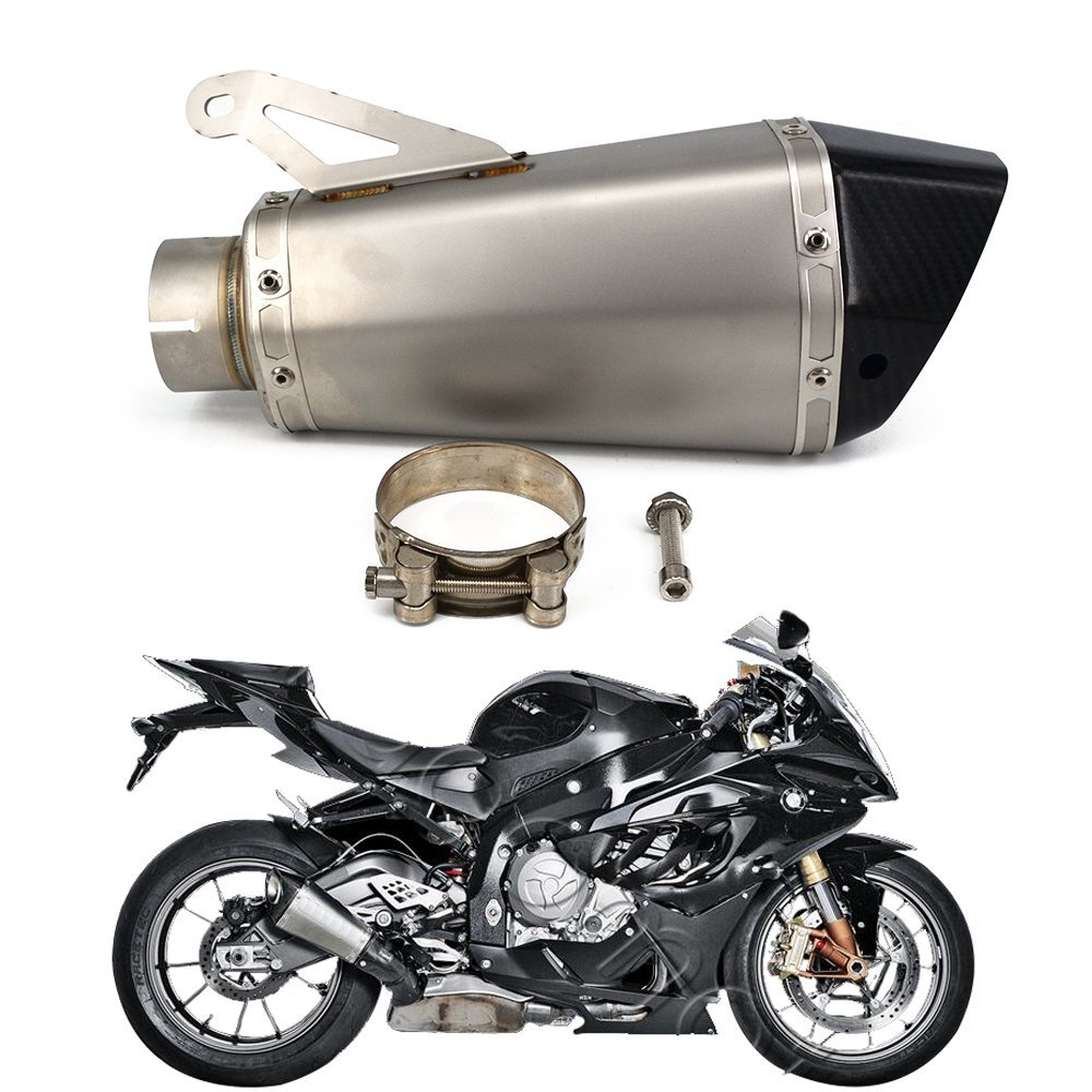 Black End JFG RACING Slip On Exhaust 1.5-2 Inlet Thunder Dual Tail outlet Muffler With DB Killer Motorcycle