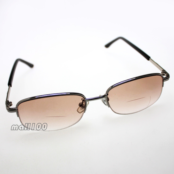 Half-Rim Brown Lens Silver Black Metal Frame Unisex New Portable Bifocal Reading Glasses +1.00,+1.50,+2.00,+2.50+3.00+3.50+4.00