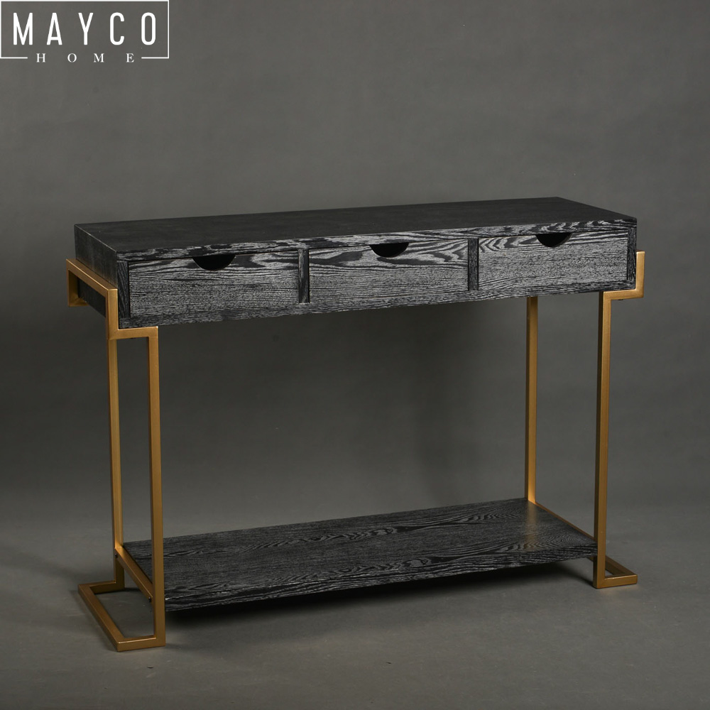 Mayco Cheap Hallway Modern Fancy French Style Wooden Black Console Table with Drawers and Shelf