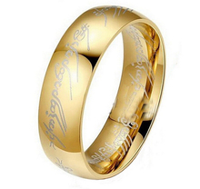 CM406 Hot Movie men's finger Rings the one ring Titanium Stainless Steel gold Ring 6MM for men's gifts wedding men jewelry
