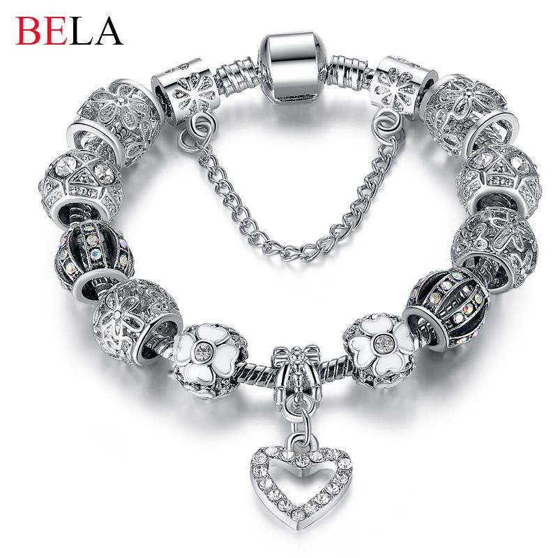 Fashion Silver Heart Charms Bracelet Bangle For Women Diy 925 Crystal Beads Fit Original Bracelets Pulseira Jewelry Gift