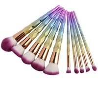alibaba beauty products wholesale distributor 10pcs rainbow makeup brushes