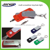 Wholesale mini night used led screwdriver with bits keychains
