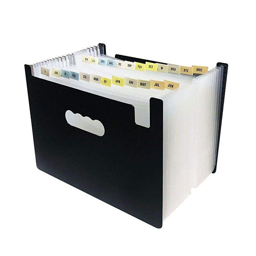 Aolvo Plastic Expanding File Folders 24 Pockets, Portable A4 Accordion File Organizer with Expandable Wallet Stand White