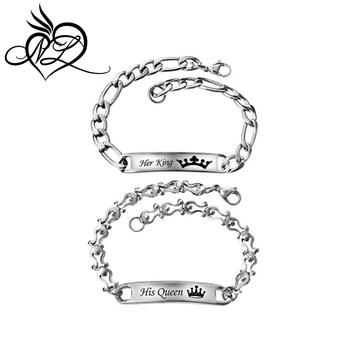 14d9f202f6 His Beauty Her Beast Stainless Steel His and Hers Couple Bracelet Set