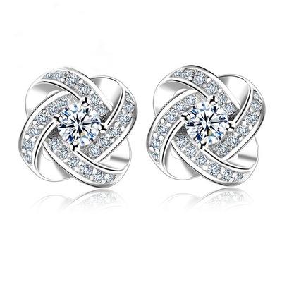 Luxury four-leaf clover zircon 925 sterling earring beautiful bridal earrings designs for women, Picture