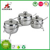 3 pcs cruet set with stainless steel lids and spoon