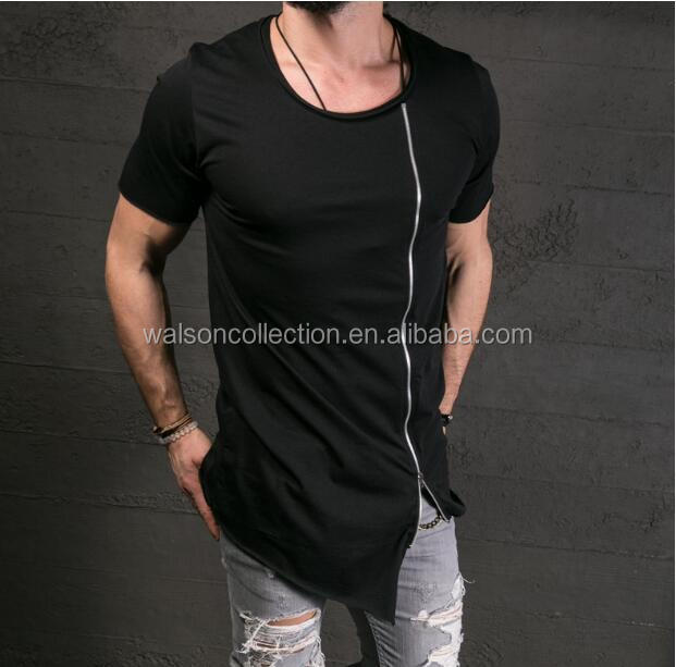 Hip Hop Long Extended T-Shirt Tee Zipper Side Asymmetrical Swag Men Summer