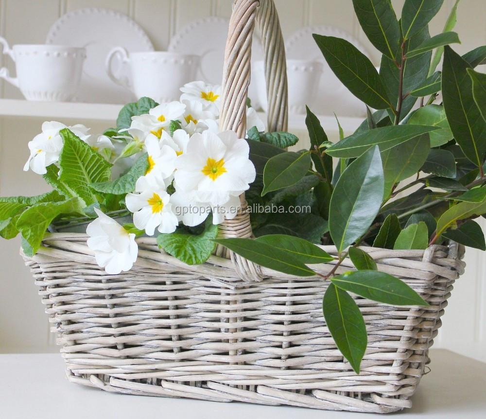 SHABBY VINTAGE GREY WHITE WASHED WILLOW HANDLES BASKET PICNIC EASTER HUNT