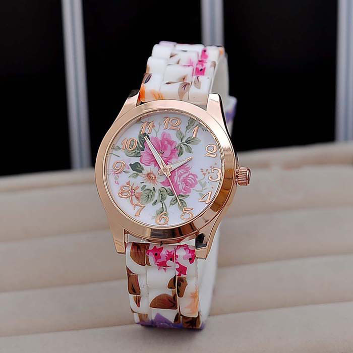 31f2cf455 Wholesale New Design Women Girl Watch Silicone Printed Flower Causal Quartz  WristWatches ! Watch Shopping Best Deals On Watches From Towork, $21.24|  DHgate.