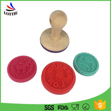 New design office colorful custom silicone cookie stamp FDA wood handle Silicone Stamp
