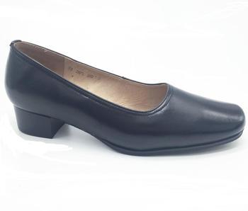 2018 Black Cow Leather Uniform Shoes Ladies High Heel Office Shoes