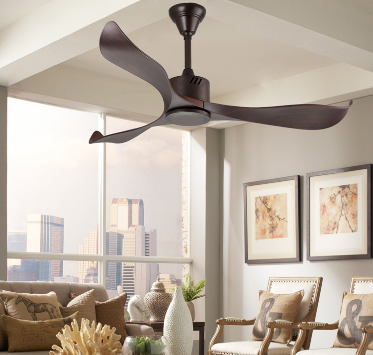 52inch Indoor Decorative Wood Color ABS Blade Fancy Ceiling Fan Without Light