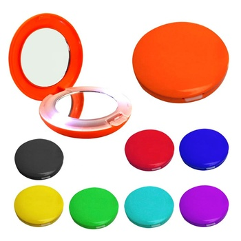Giveway orange color personal pocket size round shaped build-in 4*LR44 button batteries travel daily 2 led light makeup mirror