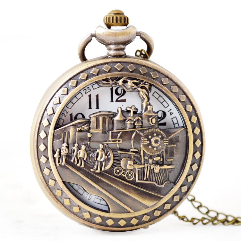 Wholesale classic Train Bronze Pocket watch vintage pocket watch Favor Men Women antique Hollow Quartz watch PW058 фото