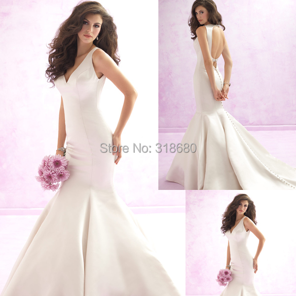 Top Quality Graceful Straps V-neckline Ivory Satin Backless Mermaid Sexy Bridal Gown Wholesale Cheap Wedding Dress China