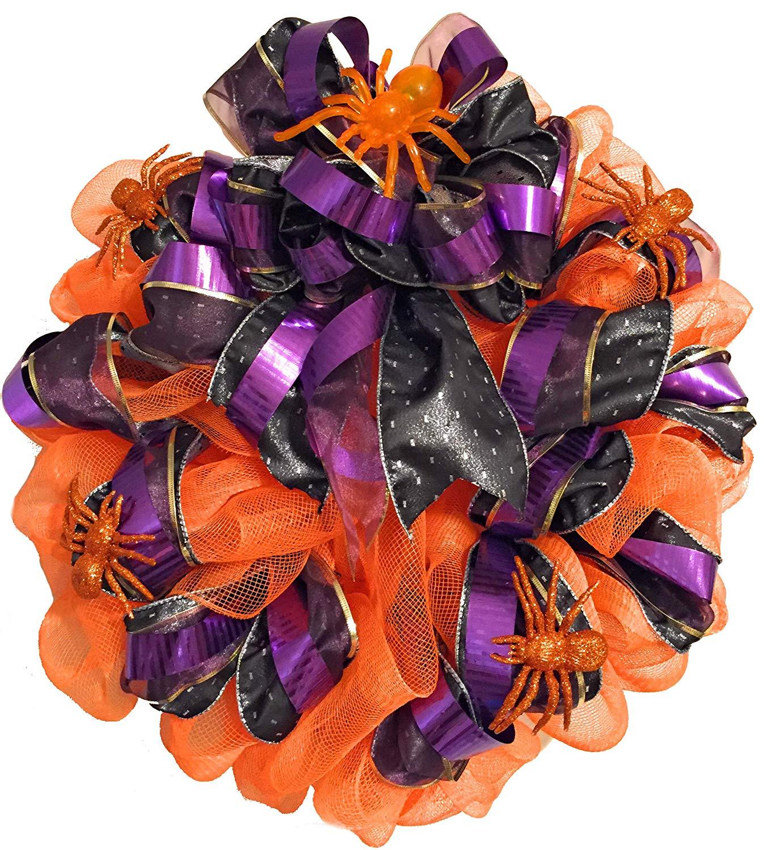 Buy Blinking Spider Orange Purple And Black Halloween Wreath In Cheap Price On Alibaba Com