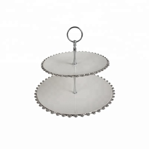Silver Plated Edge Ceramic 2 Tier Cake Stand for Wedding