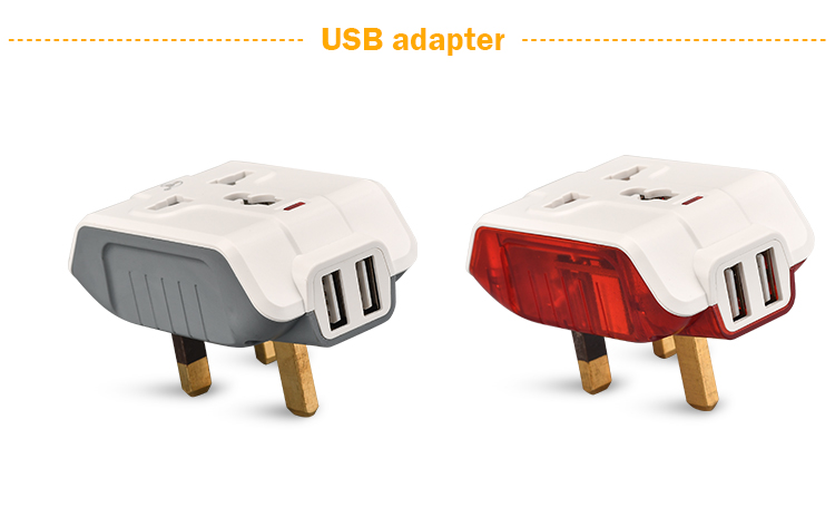 Multi universal travel plug adapter with 2 USB port