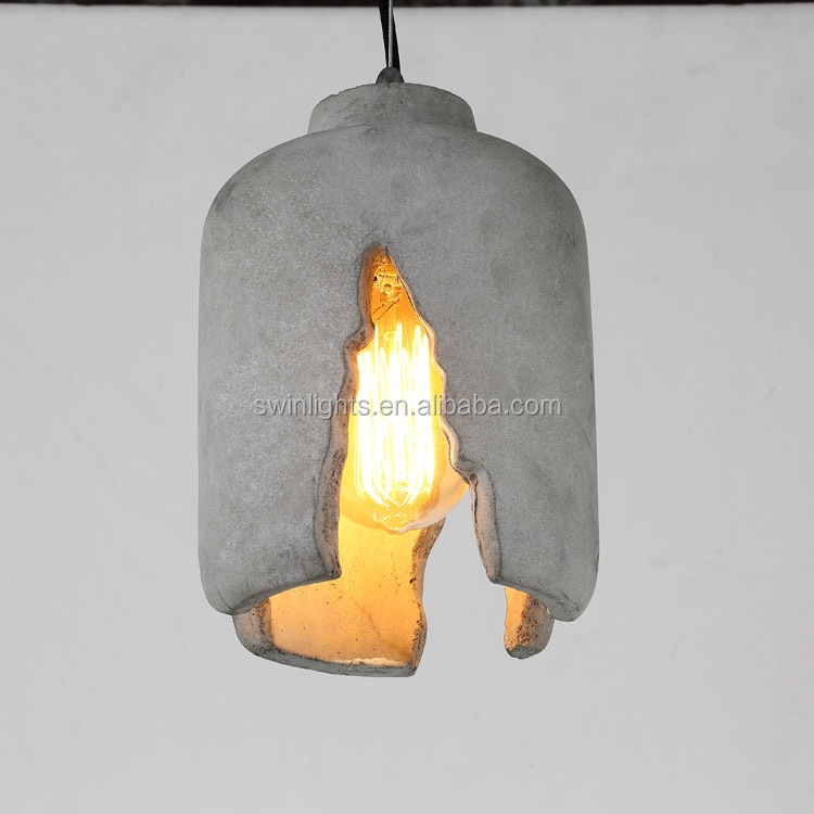 industrial concrete ceiling light hanging /cement ceiling <strong>lamp</strong>