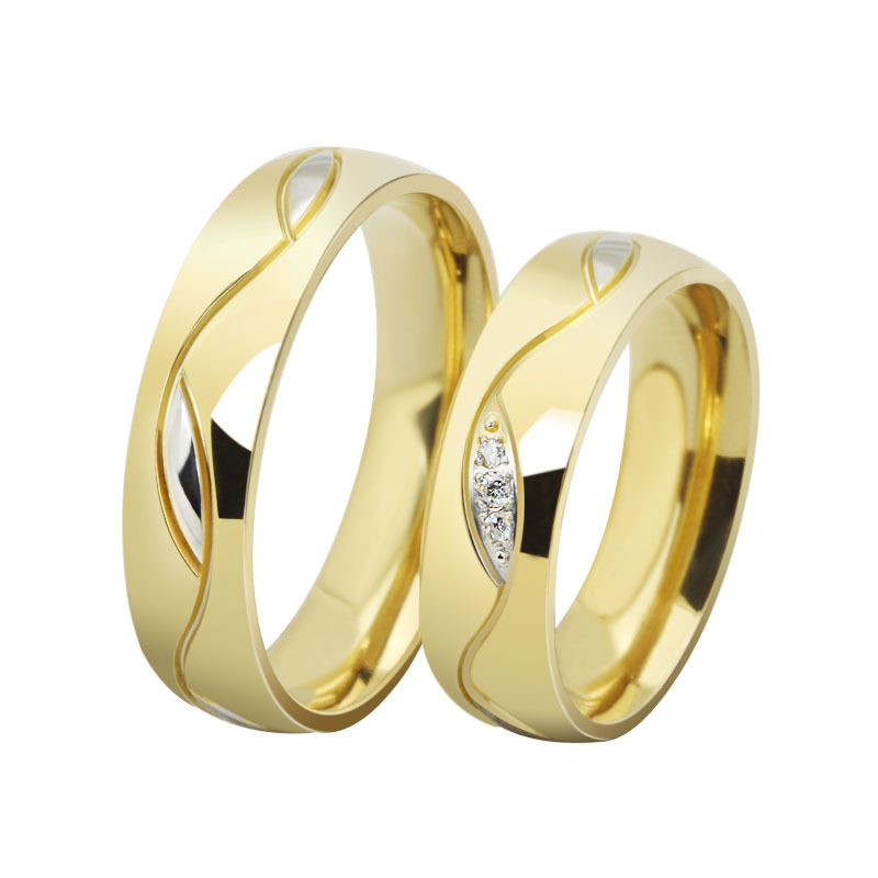 wholesale fashion cz diamond couple rings for men women 18k gold plated stainless steel wedding. Black Bedroom Furniture Sets. Home Design Ideas