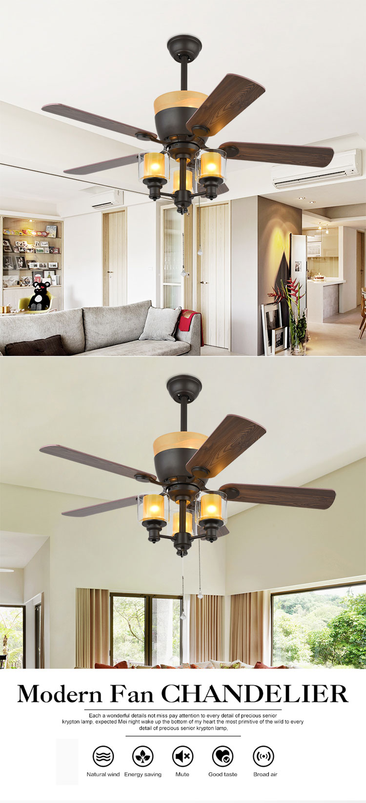 High quality 5 Blades fan light vintage industrial loft pendant light