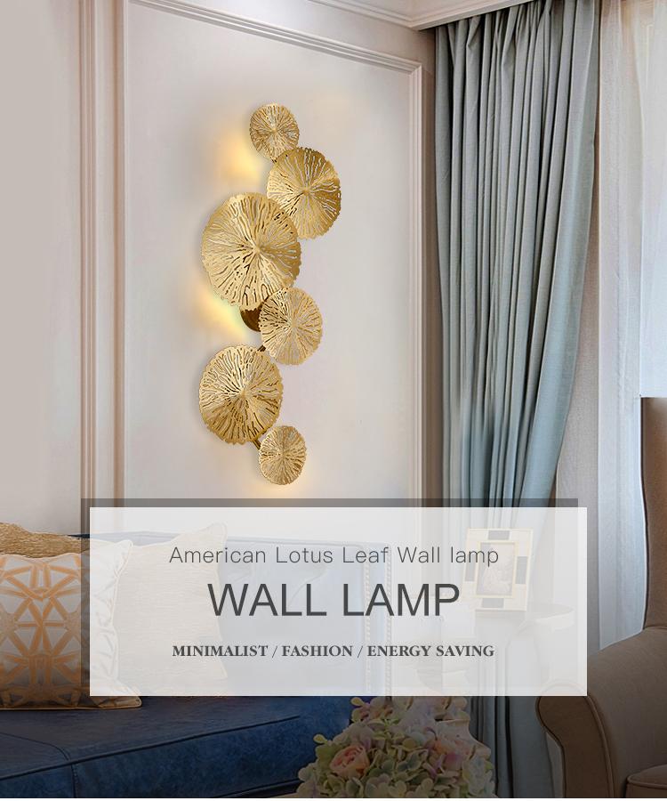 Mỹ cổ điển Lá Sen được lựa chọn H65 đồng đầy đủ đèn Tường