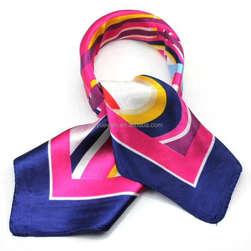 Occupation with small square scarf female airline stewardess Satin printing Imitation silk scarf