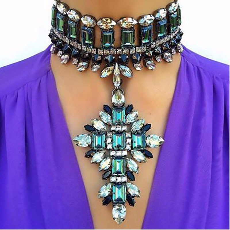 Big Brand Fashion jewellery necklace Luxury Collar Pendant Chokers Boho Wedding Flower Maxi Multicolor Statement Necklace