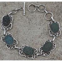 Sterling Silver Titanium Druzy Genuine Gemstone Beautiful Bracelet, Gift Jewelry