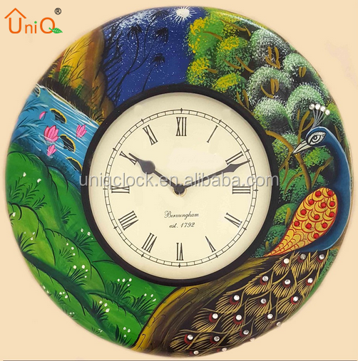 roman printed hand painted vintage look wooden handicraft wall clock