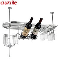 Custom simple style Metal Hanging Wall aluminum Wine Rack