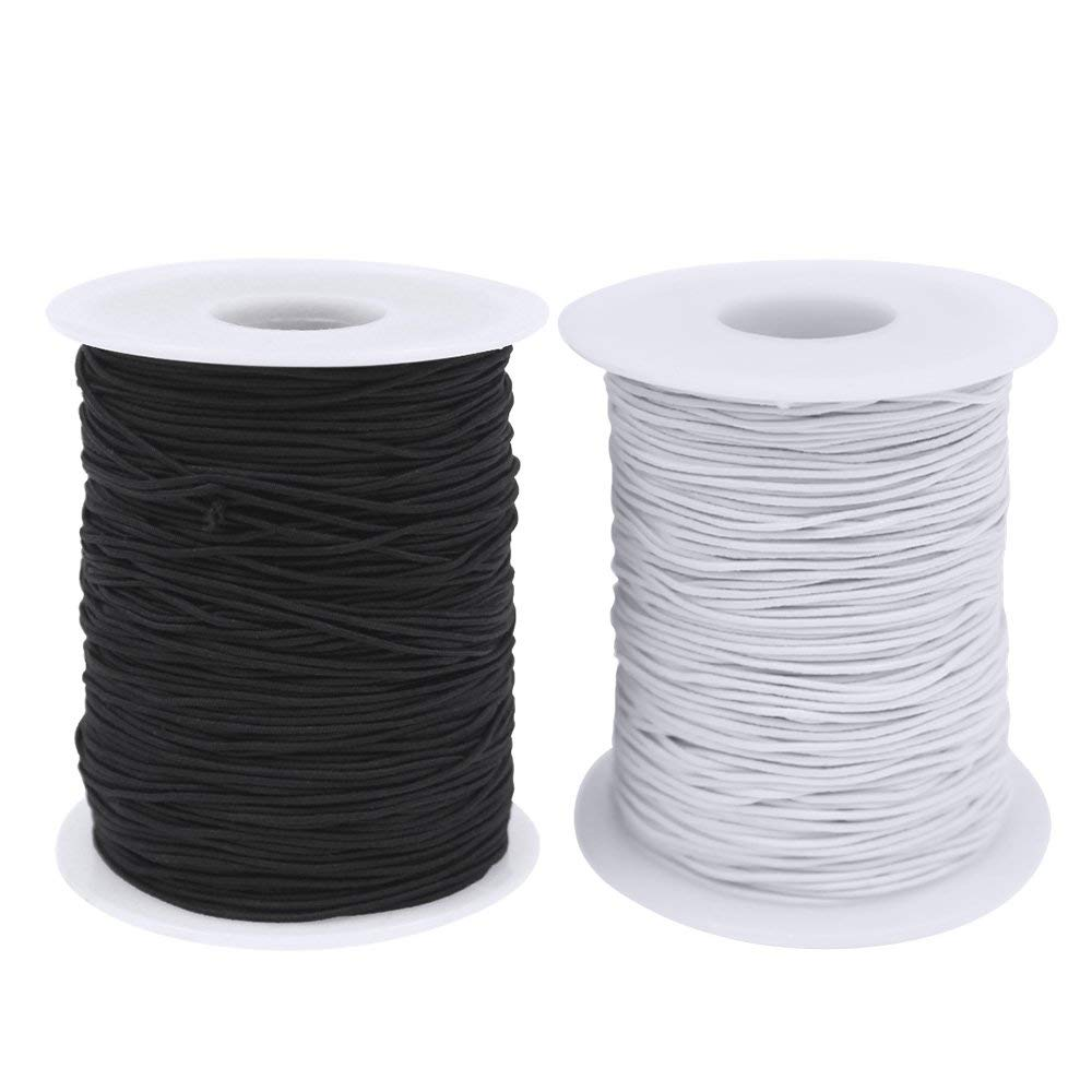 100 Meters Eachbid 0.8 mm Clear Crystal Elastic Cord Thread Beading String Cords for Jewelry Making 2 Packs