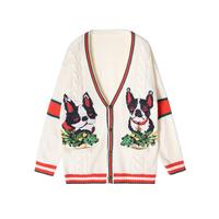 Autumn 2018 Dog Embroidered Stripes Patchwork Beige Knitted Loose V-neck Cardigan Wool Sweater Woman