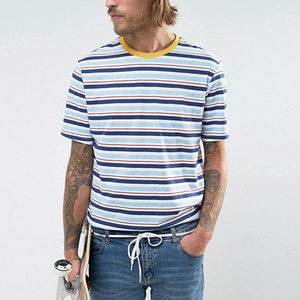 Hot selling short sleeve man blank striped t-shirts
