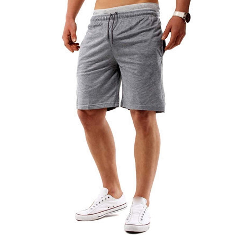 Creazrise Mens Casual Fitness Cargo Shorts Classic Fit Cotton Elastic Jogger Gym Shorts(Black,L)