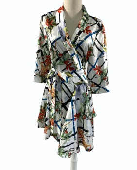 2019 Fashion autumn womens stain floral tunic blouse/ ladies wholesale long sleeve trendy robe in stock