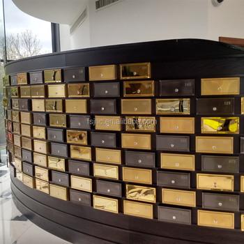 China Lockable Apartment Post Box Anium Gold Hotel Mailbox Cluster Design