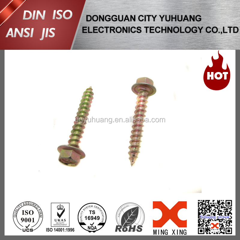 yellow zinc plated hex washer head screws
