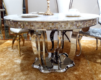 New model top quality round metal frame marble dining table set