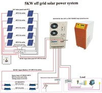 Pure sine wave 5000w hybrid solar inverter for solar system with 2 years warranty