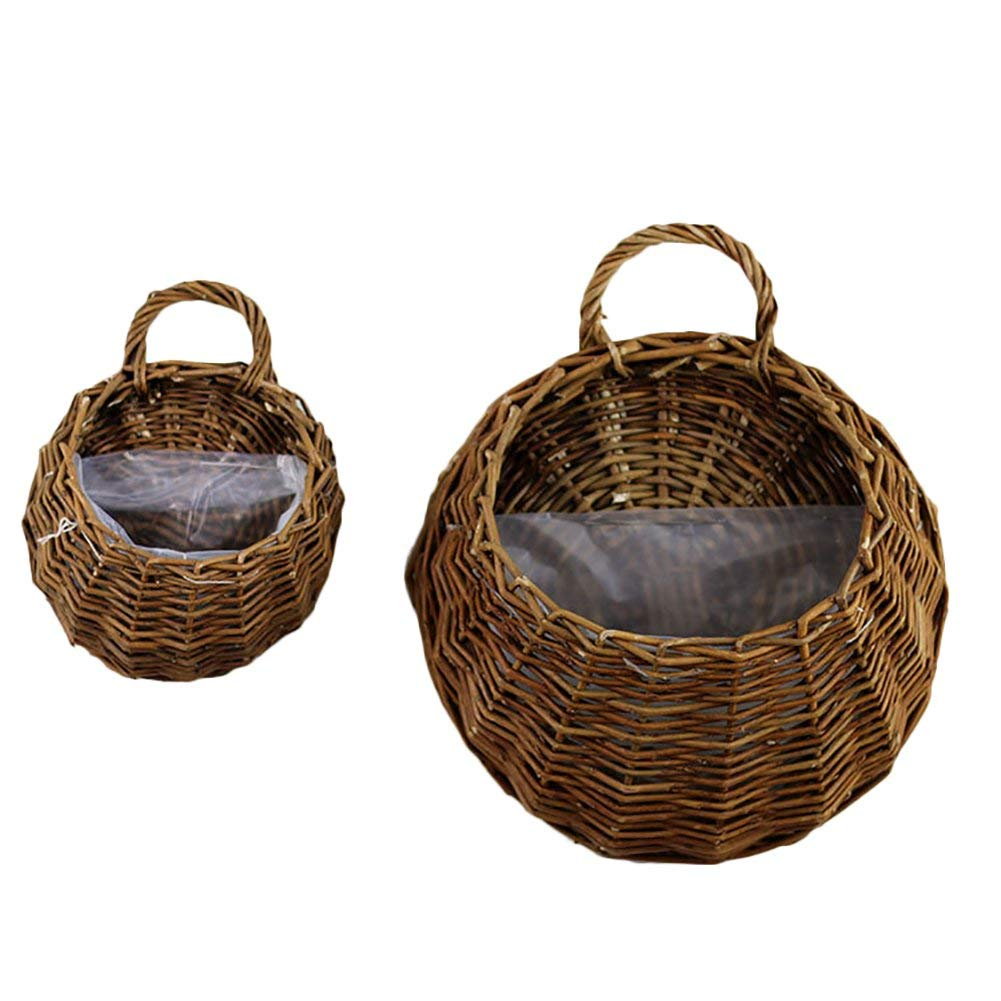 Handmade Woven Hanging Basket Natural Wicker Storage Basket, Straw and Willow Basket Flower Pot Rustic Rattan Hanging Wall Basket Vase Container for Home Garden Wedding Wall Decoration(B)