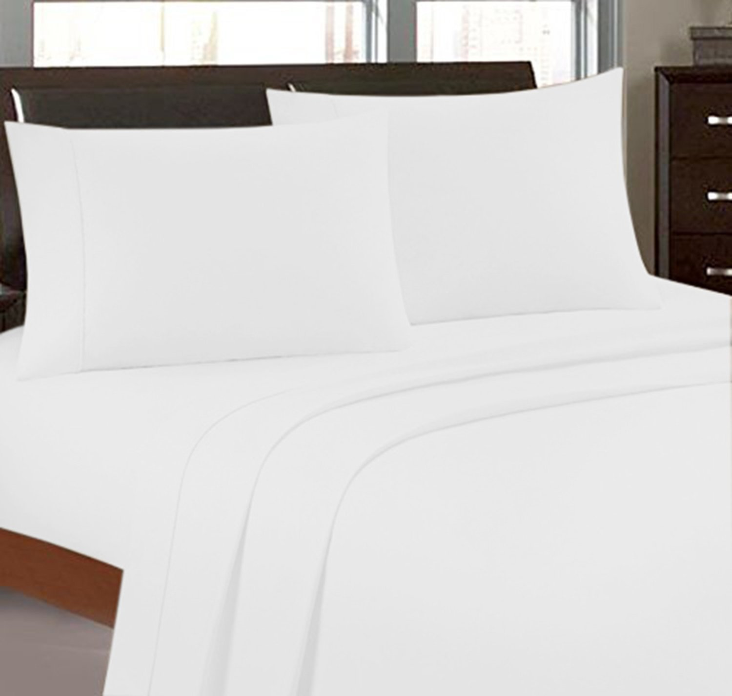 Bonne Nuit 300 Thread Count Hotel Collection Luxury Bedding Bed Sheets - Bestseller- Super Sale 100% Egyptian Cotton - Wrinkle Resistant Sheet Set-King Size Solid White Color